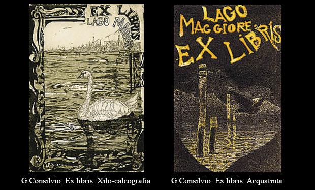 Due tipologie di Ex-libris realizzati da G. Consilvio per l'evento