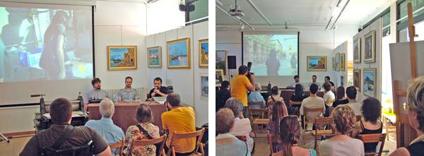 Presentazione di libri e filmati relativi al terremoto dell'Aquila 2009 presso il laboratorio d'arte 18 di Giuliana Consilvio